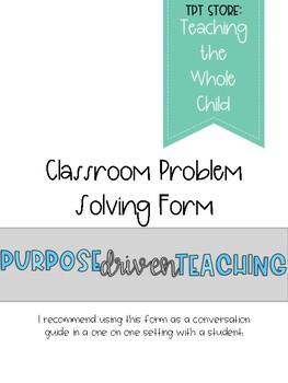 Classroom Problem Solving Form