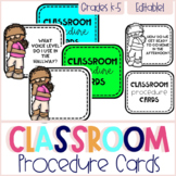 Classroom Procedure Cards - Editable
