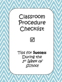 Classroom Procedure Checklist - First Day of School