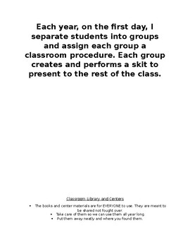 Classroom Procedure Introductions