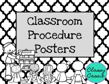 Classroom Procedure Posters: Black and White