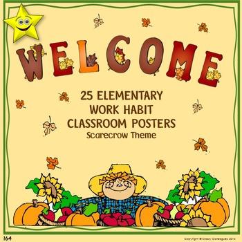 Classroom Procedures Posters, Scarecrow Theme