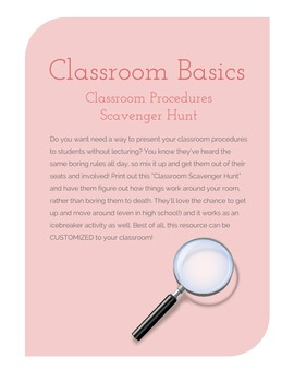 Classroom Procedure Scavenger Hunt