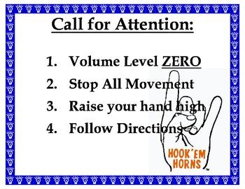 Classroom Procedure Signs