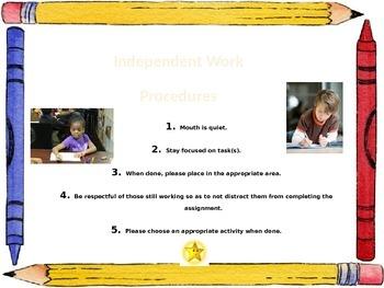 Classroom Procedure for first week of school