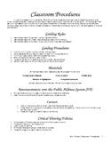 Classroom Procedures 2012