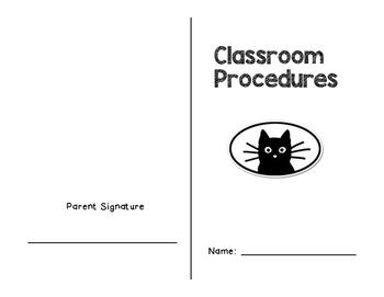 Classroom Procedures Booklet- Cat Themed
