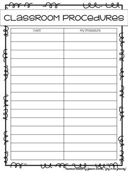 FREE Classroom Procedures Planning Sheet