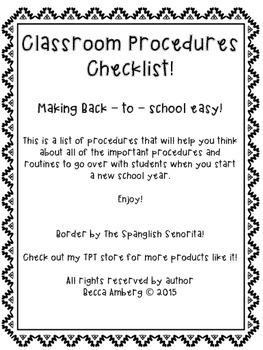 Classroom Procedures Checklist!