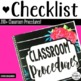 Classroom Procedures Checklist for Back to School- (200+ P