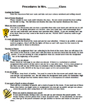 Classroom Procedures & Routines- Classroom Management Template - Begin the Year