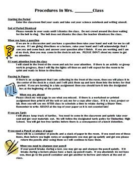 Classroom Procedures & Routines- Classroom Management Temp