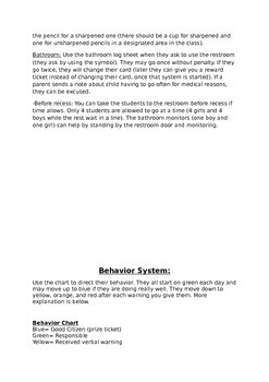 Classroom Procedures Descriptions