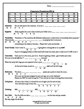 Classroom Procedures Fill In Activity