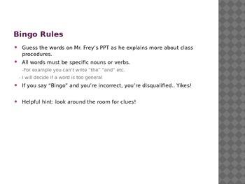 Classroom Procedures - First Days Interactive Bingo Game