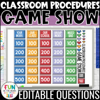 Classroom Procedures Game Show PowerPoint for Back to School {EDITABLE}