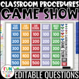 Classroom Procedures Game Show | Back to School Activity | EDITABLE PowerPoint