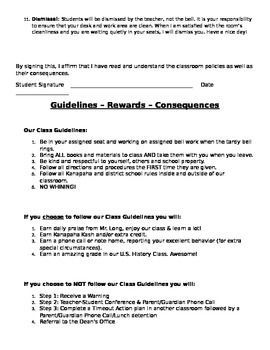 Classroom Procedures & Guidelines for a Middle School Classroom