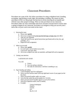 Classroom Procedures (Harry Wong style!)