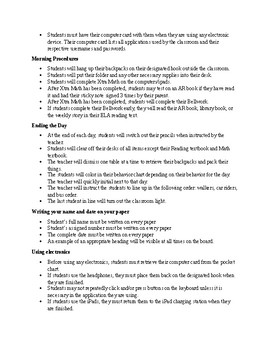 Classroom Procedures Information and Examples