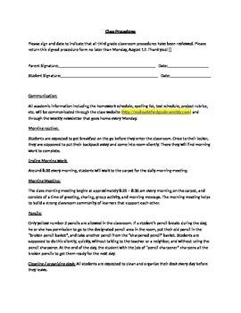 Classroom Procedures List