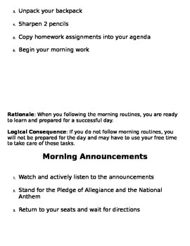 Classroom Procedures Manual (PBIS)