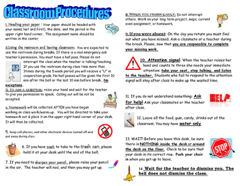 Classroom Procedures- One page handout for students to keep in their binders