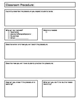 Classroom Procedures Outline