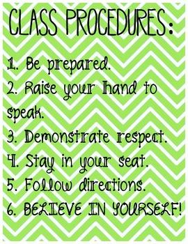 Classroom Procedures Poster