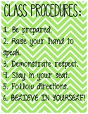 Classroom Procedures Poster