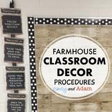 Farmhouse Classroom Decor Procedures Posters EDITABLE