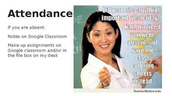 Classroom Procedures Powerpoint using Memes