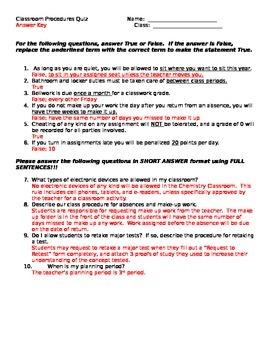 Classroom Procedures Quiz