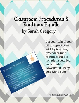 Classroom Procedures & Routines: Slides, Study Guide & Quiz Bundle (Editable)