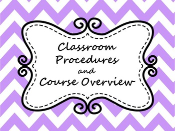 Classroom Procedures and Course Overview