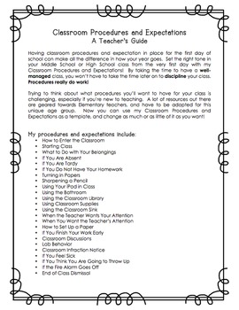 Classroom Procedures and Expectations for Middle School & High School - Editable