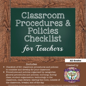 FREEBIE Classroom Procedures and Policies Checklist for Teachers