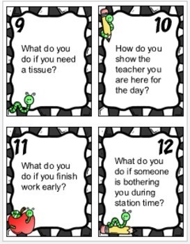 Classroom Procedures and Routines Activities and Task Cards