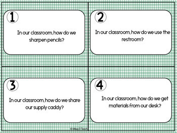 Classroom Procedures and Routines Task Cards