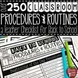 Classroom Procedures and Routines Teacher Checklist for Ba