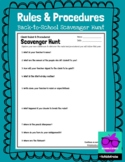 Classroom Procedures and Rules Scavenger Hunt for Back to School