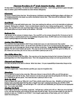 Classroom Procedures- high school