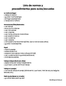 Classroom Procedures to Teach (Planning/Classroom Management Tool for Teachers)