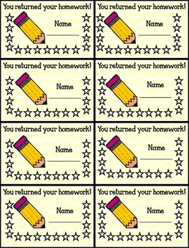 Classroom Punch Card Collection with Corresponding Reward Passes