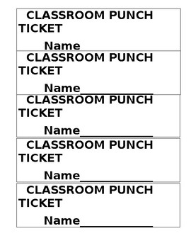 Classroom Punch Ticket