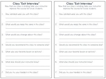 Classroom Questionnaires