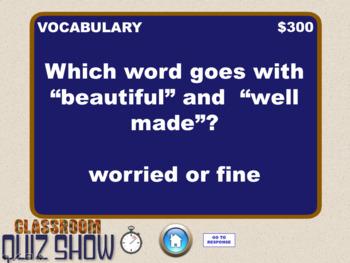 Classroom Quiz Show - Journeys GR 3 Unit 1 - A Fine, Fine School - like Jeopardy