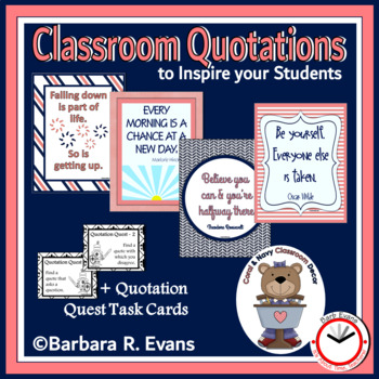 CLASSROOM QUOTATIONS: Coral & Navy Edition