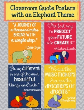 Classroom Quote Posters with an Elephant Theme
