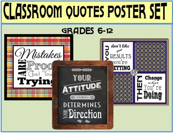 Classroom Quotes Poster Set for Upper-Level Grades